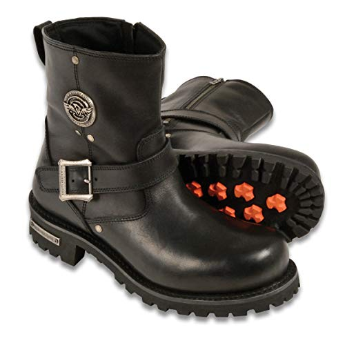 Milwaukee Leather MBM9040 Men's Black 6-inch Classic Engineer Boots with Side Zipper - 10.5