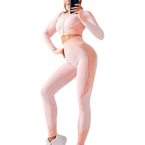 Lanceasy Maillot de yoga de 2 piezas para mujer, manga larga, cremallera frontal alta y mallas sin costuras con cordones S-L