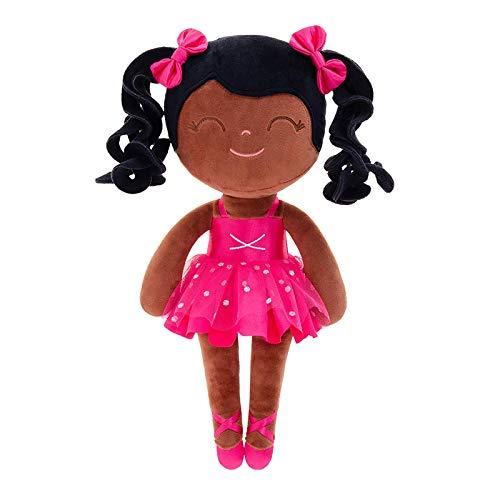 letaowl Stoffpuppe Plüsch Puppen Locken Puppen Baby Mädchen Geschenke Tuch Puppen Kinder Rag Puppe schwarz Ballett Tänzerin Plüsch Spielzeug Ballett Mädchen Spielzeug Dark
