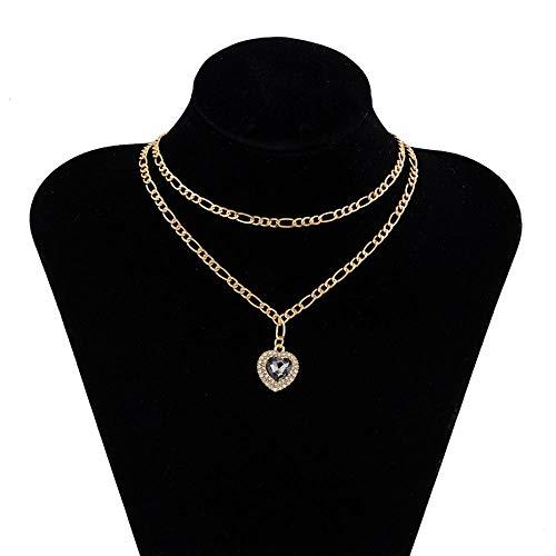 QQAQQ Collares Mujer Collar De Cristal Brillante De Lujo Vintage para Mujer, Collares De Boda, Cadena De Hierro Multicapa, Joyería De Color Dorado con Diamantes De Imitación Transparente-De Color