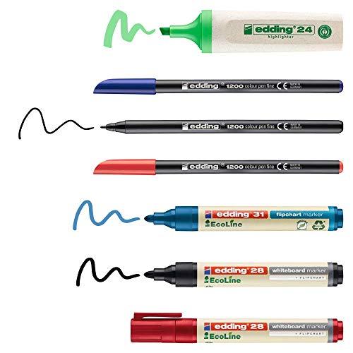 Edding - Personal set para reuniones - pack de 7-2 marcadores pizarras blancas, 1 rotulador rotafolios, 3 rotuladores punta fibra, 1 subrayador - pizarras blancas o papel - seminarios y talleres