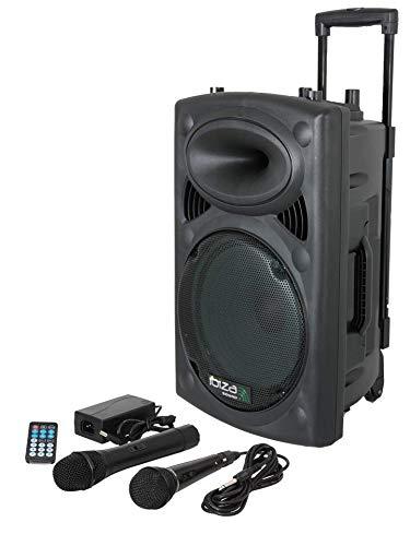 "IBIZA PORT8UHF-BT MOBILE BESCHALLUNGSANLAGE 8\"" inkl. Mikrofone PA DJ-Anlage PA-Box Bluetooth Lautsprecher mit Fernebdienung (400W, Akku-Betrieb,USB/SD, Radio)"
