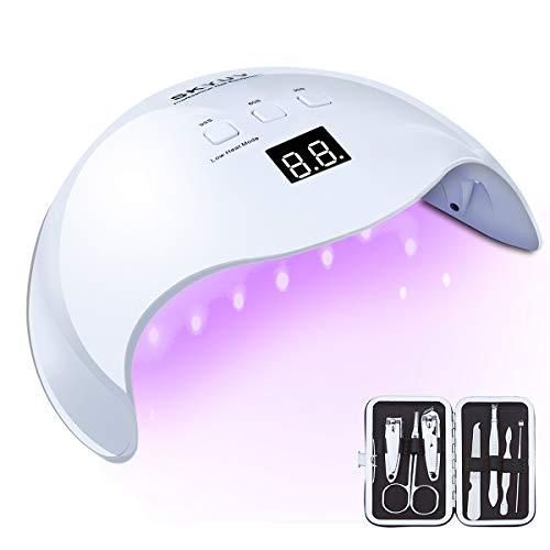 Lámpara LED UV Uñas SKYUV 48W Secador de Uñas para Manicura/Pedicura con 3Temporizadores, Con Sensor Automático y Pantalla LCD Para Manicura/Pedicure Nail Art en el Hogar y el Salón