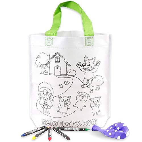10 Sacs à Main à Colorier | 10 Sacs individuels contenant 5 Crayons de Couleur et un Ballon | Cadeau pour enfants au fêtes et anniversaires