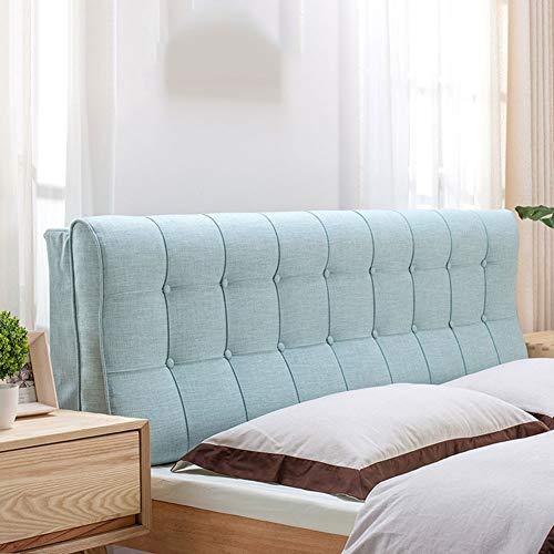 Respaldo de la cama de lino del amortiguador de la almohadilla de la tapicería de tela extraíble Fácil de Lavar Volver a apuntalar, con cabecera, 3 color opcional ( Color : Blue , Size : 180x58cm )