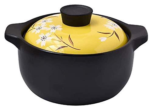 ouruanyang Cacerola con tapa, cacerolas de cocina de fuego abierto universal Cocotte, leche postre, arroz, resistente al calor, cacerola de cerámica, olla de sopa de 5,5 litros, color amarillo