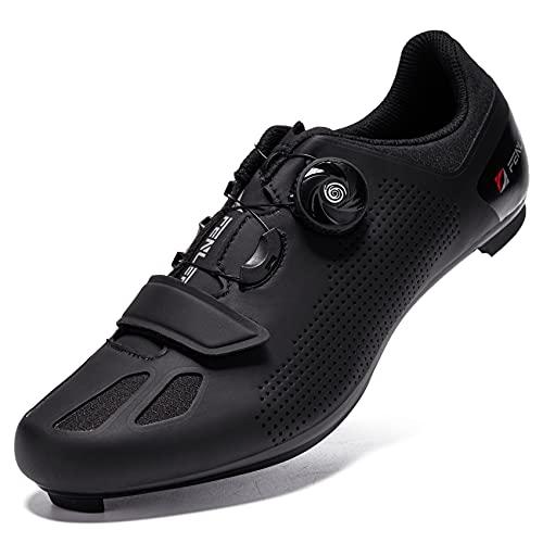 URDAR Scarpe da Ciclismo Uomo Strada Scarpe Bici da Corsa Antiscivolo Traspiranti Scarpe Bicicletta con Suola Piatta con Tacchetti Suola in Carbonio (Nero,44 EU)