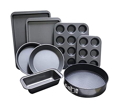 Juego De Bandeja Para Hornear Bandeja de 8-trameta, juego de horneado para hornear sin palanca con bandeja de muffin, pan, pan, pan y estaño de pastel (Color : Silver)