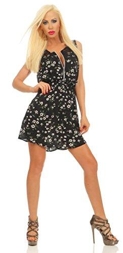 Fashion4Young 11532 Damen Mini Kleid Sommerkleid Ärmellos Blumen Minikleid Reißverschluß (schwarz, L-XL/38-40)