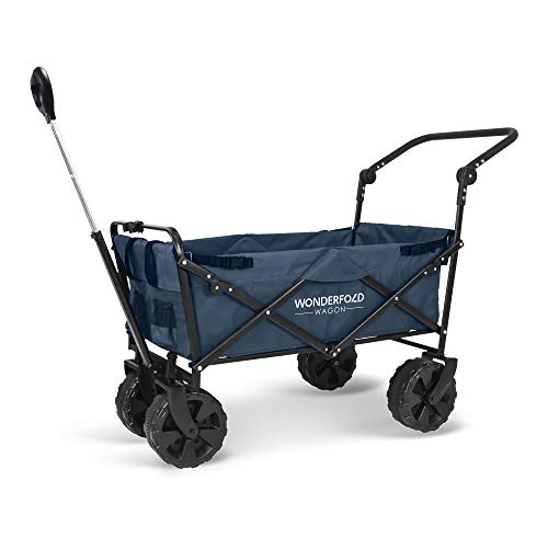 WonderFold Pull & Push Collapsible Utility Folding Wagon with All Terrain Wide Tire (Blue)