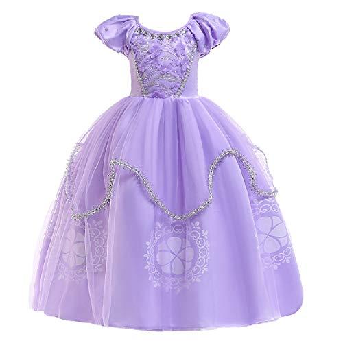FMYFWY Ragazze Rapunzel Principessa Sofia Vestito Carnevale Costumi Bambini Natale Halloween Cosplay Vestito di Compleanno Comunione Cerimonia Pageant Festa Nozze Battesimo Abiti per Bambini 7-8
