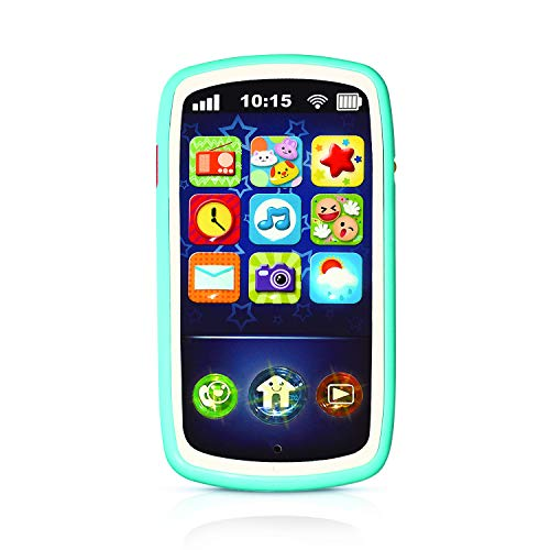 Baby Phone Toy with Record & Playback Features - Musical, Interactive and Educational Cell Phone Toddler Toys with 12 Smart Light Up Buttons - Learning Phones for Kids 6+ Months – ASTM Certified