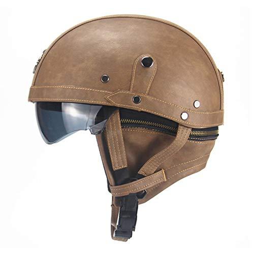 HEROBIKER Leather Motorcycle Helmet Vintage Half Helmet Cruiser Scooter Touring Moto Helmet DOT Sun Shield Lens