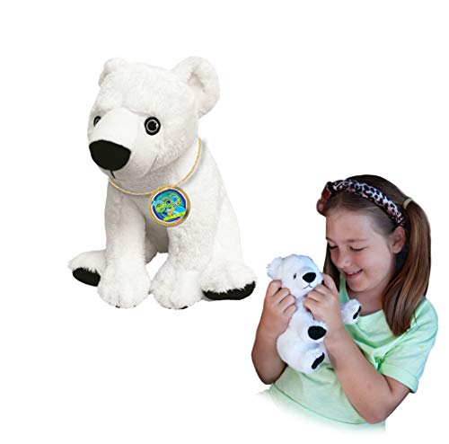 EcoBuddiez - Oso Polar de Deluxebase. Peluche Mediano de 20 cm elaborado con Botellas de plástico recicladas. Lindo Peluche ecológico con Forma de animalito para niños pequeños.