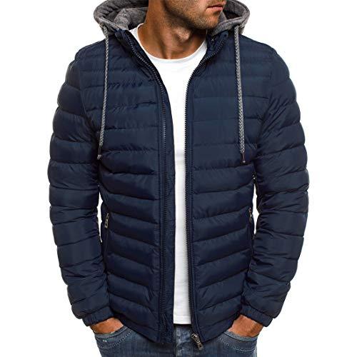 Chaqueta de plumón para hombre, con capucha, ligera, para invierno, cómoda, informal, para uso diario, monocolor G-blue(b) S