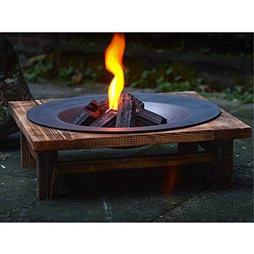 FMXYMC Fire Pit Table, Built-In Fire Bowl with Wood Table, Outdoor Patio Heater, Metal Bonfire Firepit, Garden Fireplace for Camping,Pine Rack