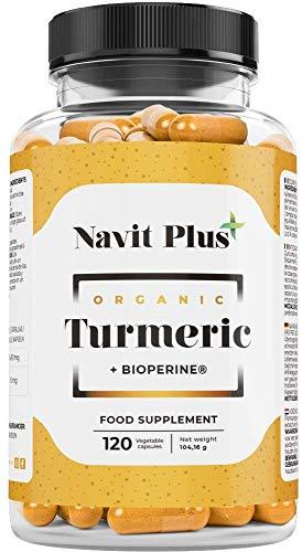 Cúrcuma en capsulas + Pimienta negra registrada BioPerine®. Código Nacional Farmacia 193337.9 | Antioxidante y antiinflamatorio natural | Tratamiento hasta 4 meses | Fabricado en España | Navit Plus