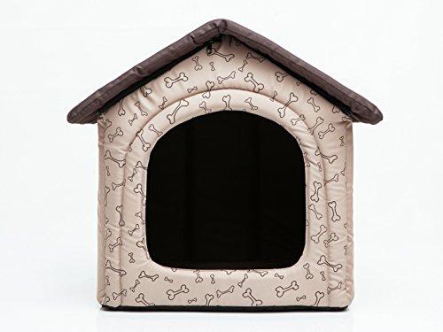 HobbyDog Hundehütte Hundebett Tierbett Katzenbett Beige mit Knochen