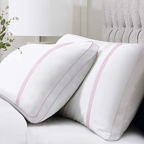 BedStory Almohadas Fibra Almohada de 42 x 70cm con Relleno 3D Fibra Mantiene la Forma Almohadas Antiácaros para de Cama Almohadas para Hoteles【Nueva Versión】 Pack de 2 Rosa