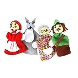 Dedo 4pcs / Set Caperucita Roja De Animales De Navidad Títeres De Juguetes Educativos Juguetes Muñeca De Dibujos Animados Cuentacuentos Marionetas Del Dedo De Los Cabritos Del Terciopelo Suave Dedo