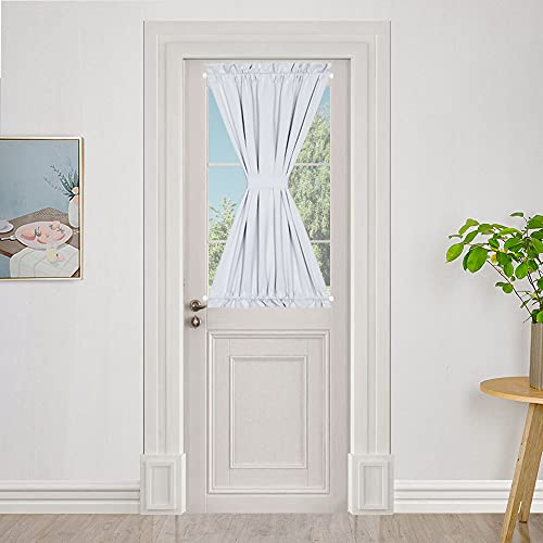 PANOVOUS French Door Curtains Small Window Curtains Super Soft Thermal Insulted Front Door Single Panel Window Curtain 25x40 Inch Greyish White One Panel