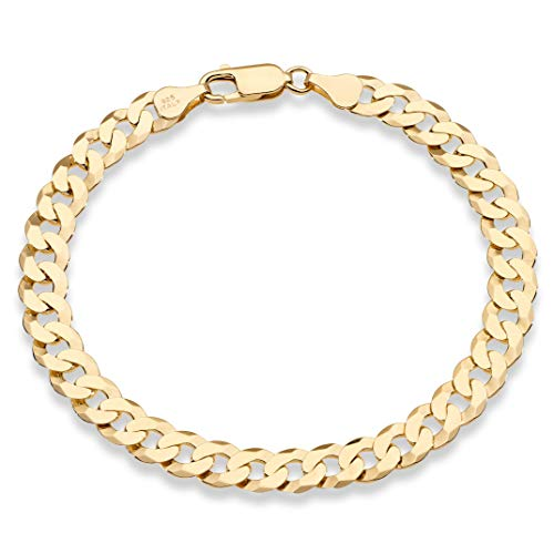 Miabella 18K Gold Over Sterling Silver Italian 7mm Solid Diamond-Cut Cuban Link Curb Chain Bracelet for Men Women 7, 7.5, 8, 8.5, 9 Inch, 925 Made in Italy (8.5 Inches (7.5'-7.75' wrist size))