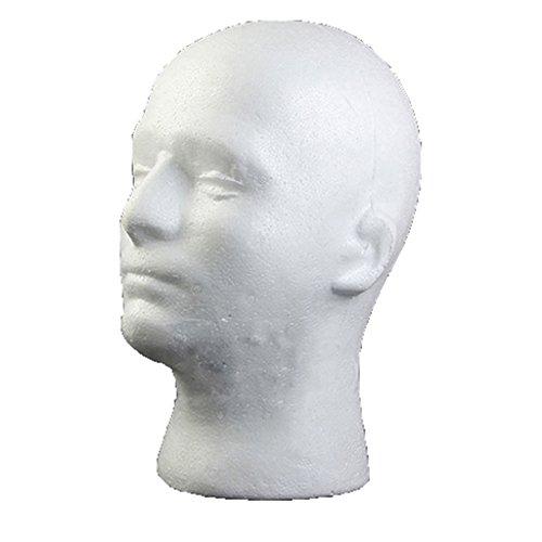 spirworc hlan modello testa, maschio, schiuma plastica, polistirolo, Occhiali Supporto, Supporto per parrucche, Cuffie, cappelli