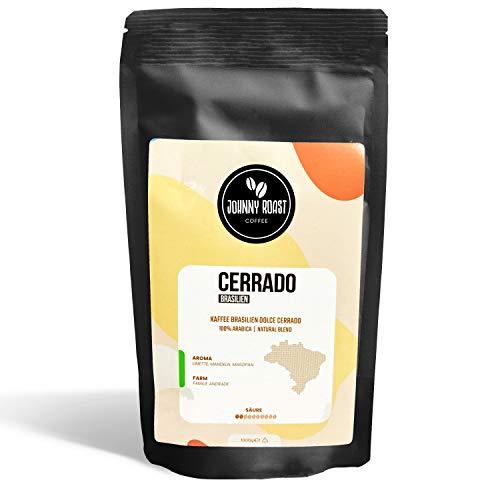 Johnny Roast Cerrado Brasilien – Barista Kaffee Crema ganze Bohnen 1kg | Premium Kaffeebohnen aus ökologischem Anbau | Röstkaffee sehr säurearm & magenschonend | 100% Arabica Natural Blend