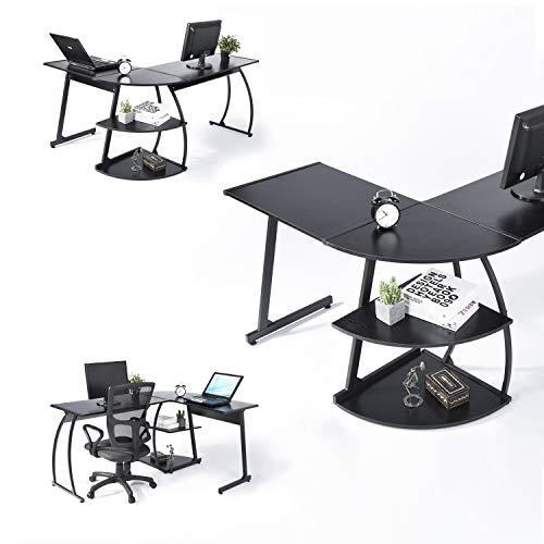 FurnitureR Mesa de Ordenador de Esquina con Estructura de Metal y Tablero de melamina con 2 estantes.