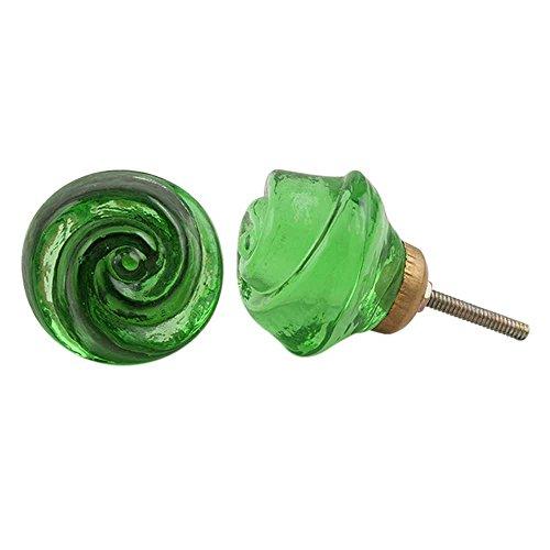 IndianShelf 20 Pièce faite à la main Lot de boutons de porte en verre Émeraude Rose Commode à partir Poignée de tiroir, multicolore