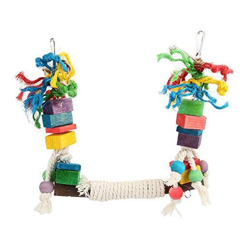 Hffheer Pet Parrot Toys papegaai houten kauwspeelgoed meerkleurige houten blokken vogel papegaai scheurspeelgoed Pet Parrot Stand Pet Parrot Hanging Biting Toy met kleurrijke rotan ballen