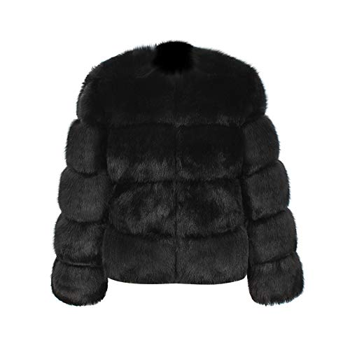 YWLINK Damen Warm Kunstpelz Mantel Edel Elegant Outwear Winterjacke Einfarbig Winter Kurzer Langarm Parka Oberbekleidung(XXXL,Schwarz)