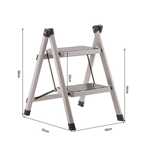 ZFFSC Taburete de escalera de hierro para el hogar, dos pasos, plegable, taburete de cocina ligero