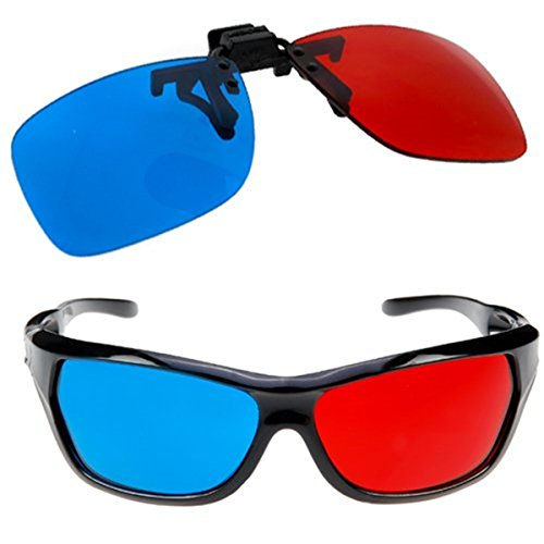 TrifyCore  Gafas LED para Gafas de miopía Gafas 3D de Gafas graduadas para TV de Estilo Cian Rojo