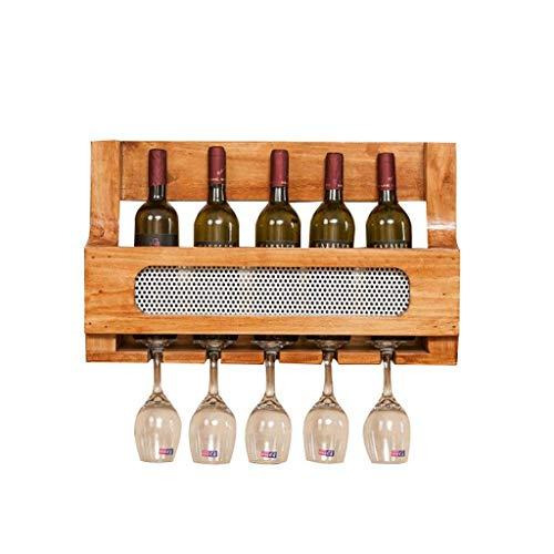 Pkfinrd Flessenrek aan de muur gemonteerd flessenrek met houten flessenrek display rack