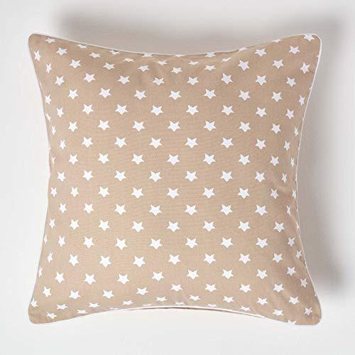 HOMESCAPES cojín Relleno Blando y Funda de algodón Color Beige con Estrellas Blancas 60x60cm