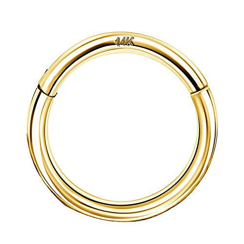 OUFER 16G 14K Solid Gold Hinged Clicker Segment Ring Lip Nose Hoop Helix Daith Tragus Septum Cartilage Earring 8MM
