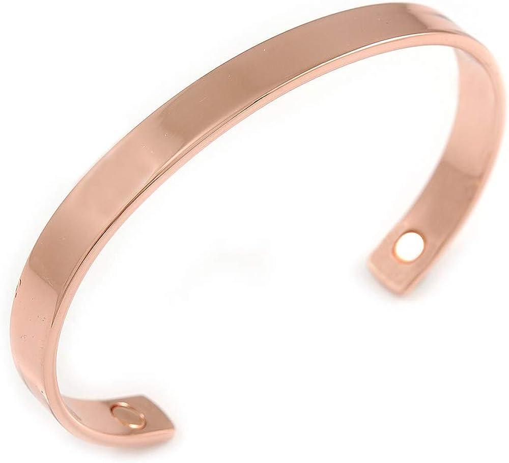 Avalaya Copper Classic Men Women Magnetic Cuff Bracelet - Adjustable Size - 7½