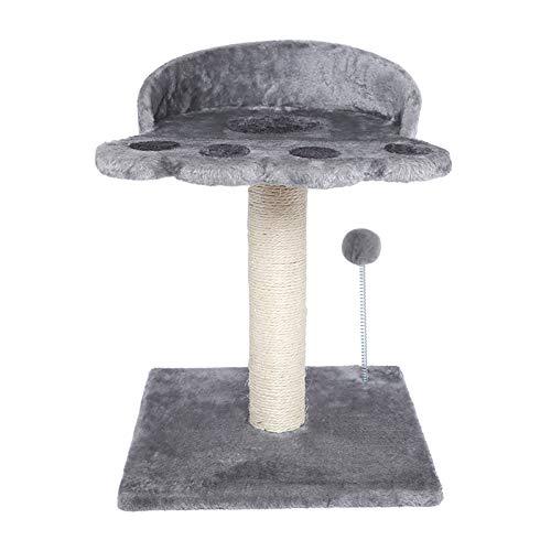 Poils bebe Arbre à chat moderne en sisal naturel avec plateforme et boule en peluche pour chatons et petits chats (gris)