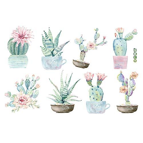 WYZNB Creative Personality - Pegatinas de pared de estilo nórdico para dormitorio, decoración de mesita de noche, papel pintado, diseño de cactus