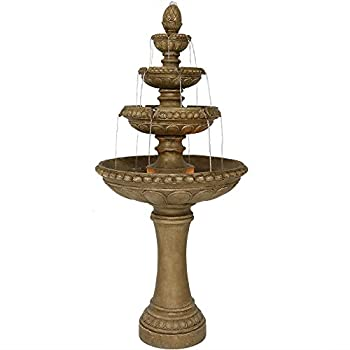 Sunnydaze Outdoor Water Fountain with LED Lights - Large 4-Tier Eggshell Water Feature- 65 Inch Tall - Perfect for Patio Yard Garden or Porch - Submersible Electric Pump Included