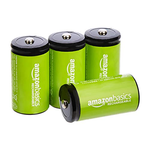 Amazon Basics C Cell Rechargeable Batteries 1.2V (5000mAh Ni-MH) - Pack of 4