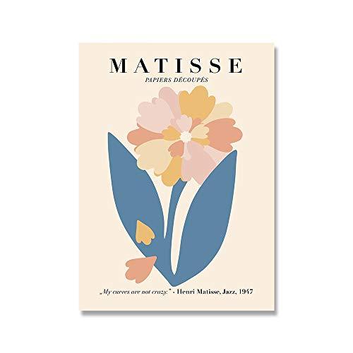 Póster de planta de flor de Matisse, lienzo abstracto para mujer, arte de pared minimalista, impresión, lienzo moderno sin marco, pintura B 30x40cm