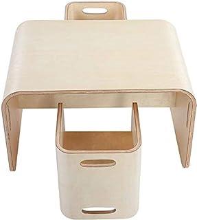 Ejoyous - Mesa y sillas para niños, de madera, grupo de sillas 3 en 1, muebles infantiles multifuncionales para niñas y niños, 1 mesa reversible + 2 taburetes reversibles