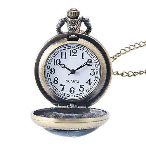 SGSG Reloj de Bolsillo Antiguo Estilo Brozne Doctor Who Collar Vintage Cadena Larga Colgante Reloj de Bolsillo Hombres Mujeres Vintage Cool Pequeño Regalo Retro Punk