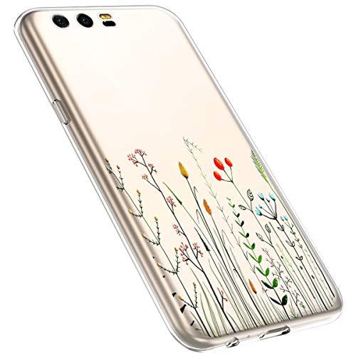 MoreChioce kompatibel mit Huawei Honor 9 Hülle,Huawei Honor 9 Handyhülle Blume,Ultra Dünn Transparent Weiche Silikon Schutzhülle Clear Crystal Rückschale Tasche Defender Bumper,Blumenzweig #1