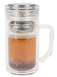 NEW - Sage Tea Infuser Mug - Portable Tumbler With Stainless Steel Strainer For Loose Leaf Tea And Fruit - Double Wall Glass, 14 Oz.