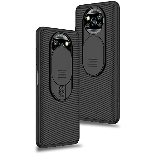 XTCASE für Xiaomi Poco X3 NFC Hülle, Poco X3 Pro Hülle Ultra Dünn Handyhülle mit Kameraschutz - Kamera Schutz mit Schieber, Premium Hybrid PC + TPU rutschfest Stoßfest Kratzfest - Schwarz