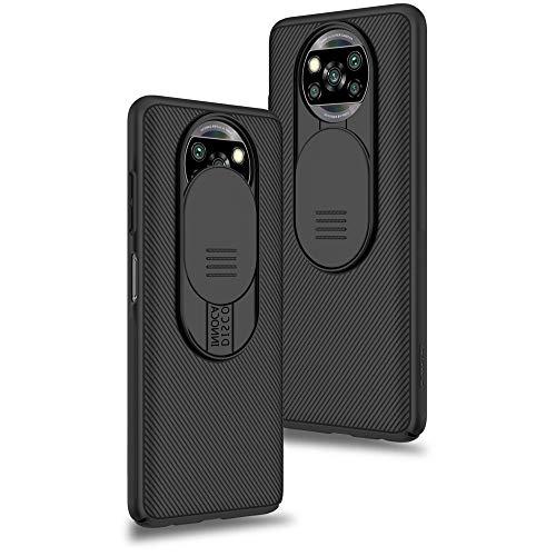 Funda para Xiaomi Poco X3 NFC/Xiaomi Poco X3 Pro, Protección de la cámara Carcasa Cubierta de cámara Deslizante Proteger Ultra-Delgado Híbrida PC Anti-Choque Anti-arañazos - Negro