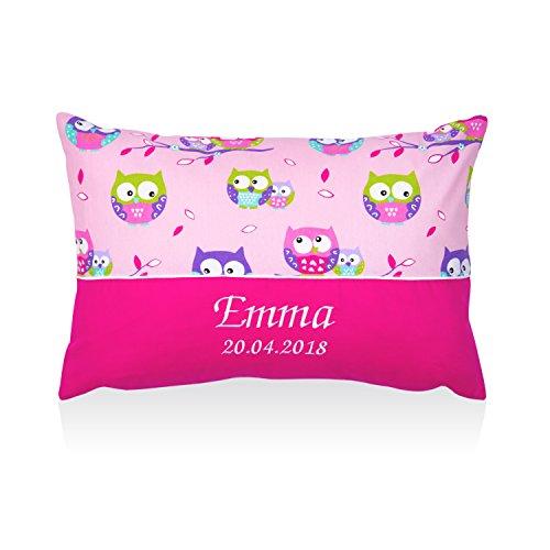 Amilian® Kissen 40 x 60 cm mit Namen Datum Eule Rosa/Rosa